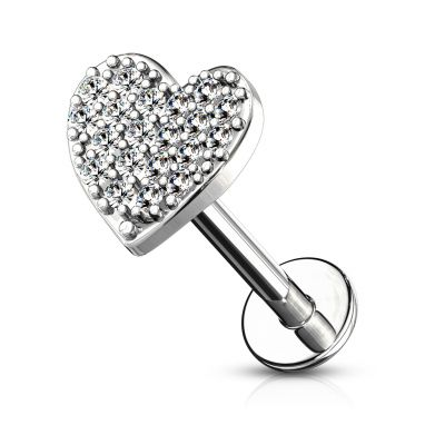 Labret internally threaded with studded heart