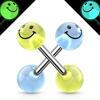 Tongue ring with glow in the dark smiley face balls