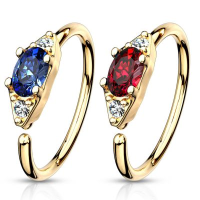 Seamless ring with oval gem in a variety of colors