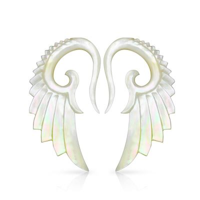 Hanger with hand-carved angel wings of mother of pearl