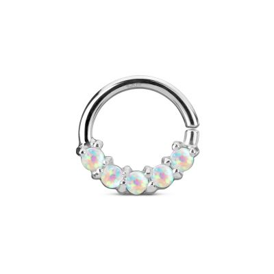 Septum clicker in 14k gold with opals