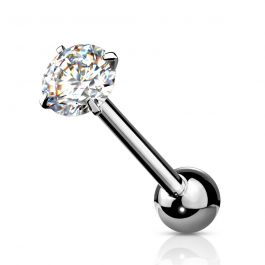 Tongue ring with prong set round stone