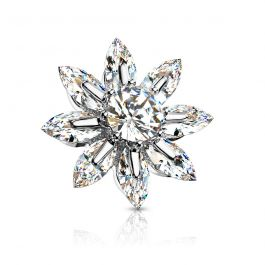 Dermal top with flower of studded petals and large central gem