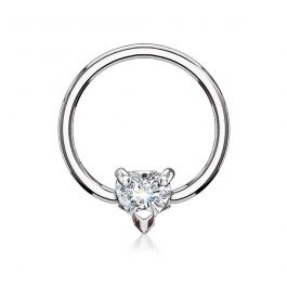Captive bead ring with heart-shaped gem