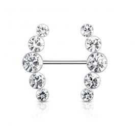 Nipple barbell with curved stone rows