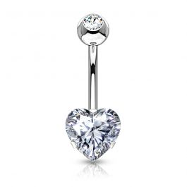 Belly button ring with bottom heart-shaped gem