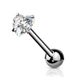 Tongue ring with prong set heart stone