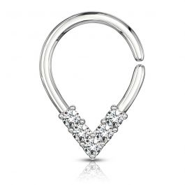 Seamless ring with top-down studded drop-shape
