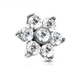 Dermal top jewelry with stones forming a flower